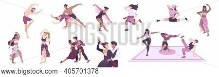 Dancer Set With Flat Icons And Characters Of Male And Female Dancers Single And In Pairs Vector Illu