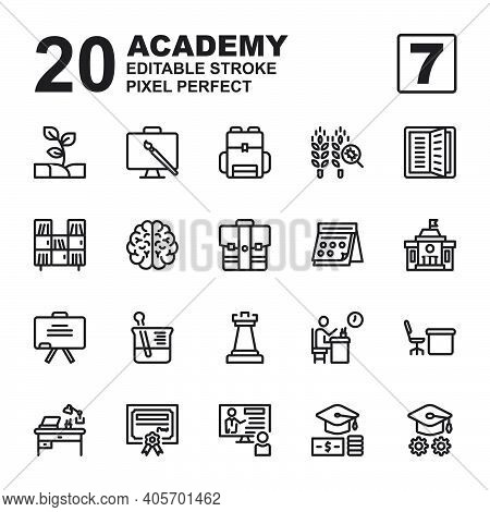 Icon Set Of Academy. Outline Style Icon Vector. Contains Such Of Agriculture, Class, University, Sch