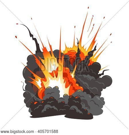 Bomb Explosion Isolated Colorful Image Of Large Blast Bang Flying Debris Fire Dark Grey Cloud Vector