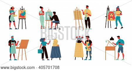 Set Of Isolated Artist Icons With Doodle Characters Of Painters And Sculptors With Paintings Drawing