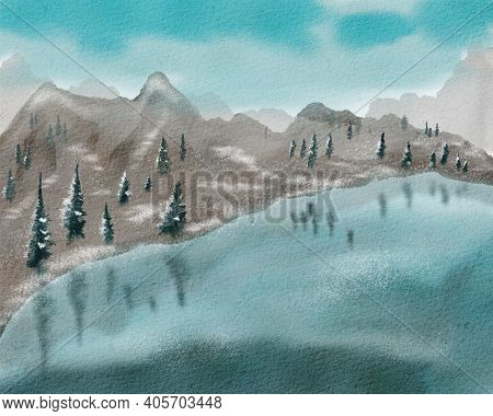Landscape With A Mountain Lake. First Snow, Fir Trees And Water Surface. Hand Drawn Watercolor Illus