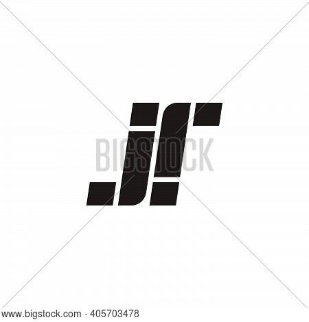 Letter Jr Simple Geometric Stripes Logo Vector
