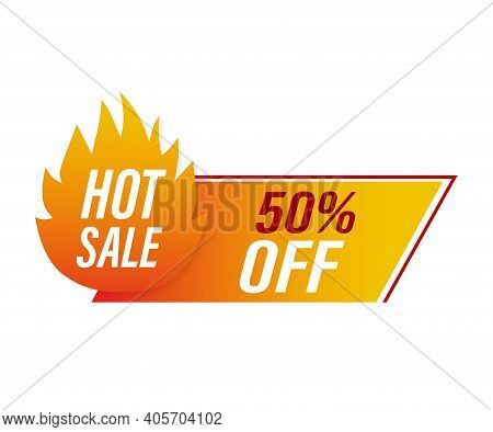 Promo Banner, Advertising Background. Sale Tag. Abstract Banner With Red Hot Promotion On White Back