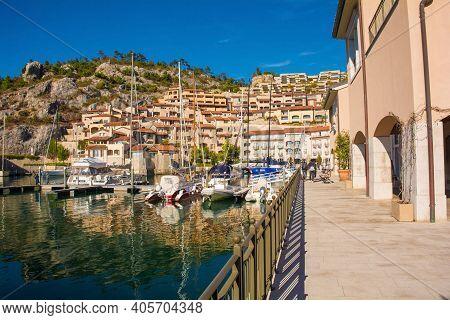 Portopiccolo, Italy - October 31st 2020. Portopiccolo, An Upmarket Resort And Marina, On The Coast O