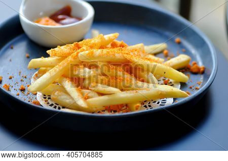 French Fries Or Fried Potato ,cheese Fries And Dip