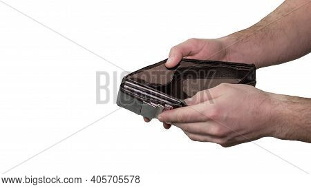 Wallet Open In The Hands Of A Man, Isolated On White Background, Financial Problems, No Money In The