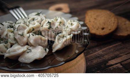 Homemade Dumplings, Appetizing Dumplings In A Plate, Russian Dumplings, Ravioli. Homemade Food.