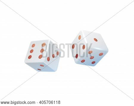 Gambling Dice. 3d Casino Equipment. Realistic Pair Of White Cubes With Red Dots. Isolated Tools For