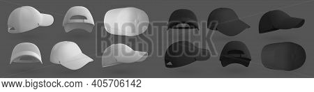 Baseball Cap. Realistic 3d White And Black Hat Mockup For Brand Identity Design. View From Different