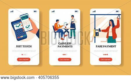 Online Payment With Phone Screens. Money Transfer. Cashless Pay For Purchases And Travel In Transpor