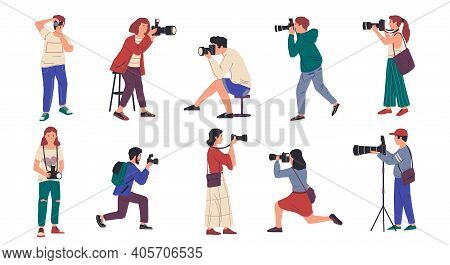 Photographers. Cartoon People With Professional Cameras Taking Pictures. Isolated Men And Women Shoo