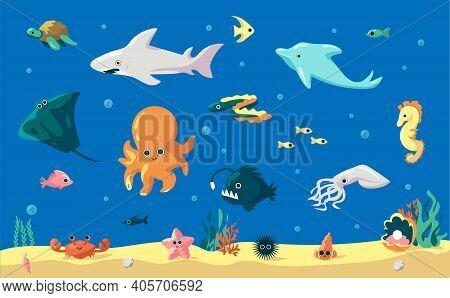 Cartoon Fish. Cute Underwater Animals, Marine Inhabitants. Funny Dolphin And Eel, Comic Squid Or Sta