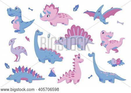 Cute Dinosaurs. Adorable Dino Clipart. Drawing Extinct Animals Of Jurassic Period, Prehistoric Repti