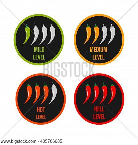 Set Of Hot Red Pepper Strength Scale. Indicator With Mild, Medium And Hot Icon Positions On White Ba
