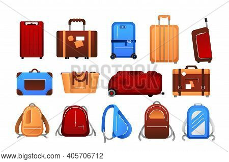 Suitcases. Cartoon Travel Airport Luggage For Journey Collection, Different Trip Baggage With Case,