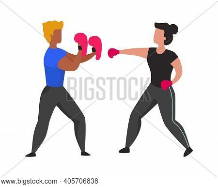 Gym Boxing Training. Young People Learning To Fight. Fighter Practices Hits With Gloves. Cartoon Coa