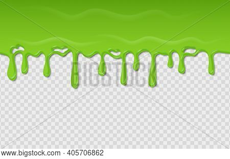 Slime Seamless Pattern. Dripping Green Radioactive Substance. Spooky Liquid Wave On Transparent Back