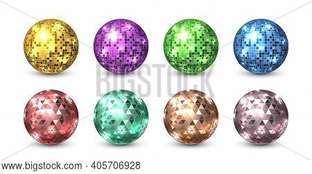 Disco Balls. Night Club Glitter Discoballs. Isolated Shiny Equipment For Dance Party. Glowing Sphere