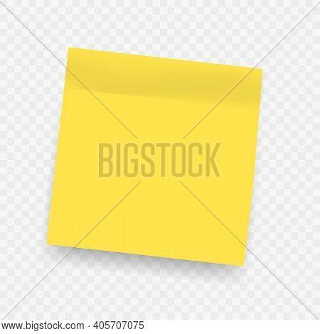 Yellow Realistic Sticky Notes. Square Post Not With Soft Shadow Isolated On Transparent Background.