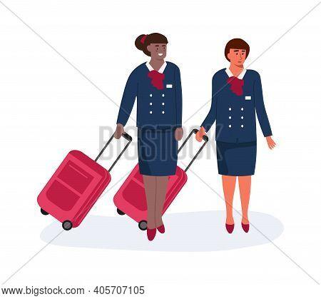 Air Hostess. Cartoon Stewardess With Luggage. Standing Women In Uniform. Aircrew Accompanies Plane F