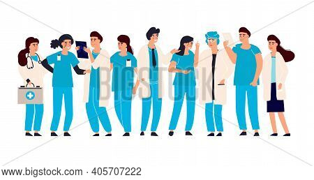 Doctor Nurse Set. Vector Male And Female Hospital Staff. Medical Team Doctors And Nurses, Therapist