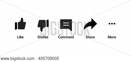 Like, Dislike, Comment, Share, And More. Icon Set Of Channel
