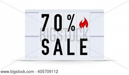 70 Percent Sale. Text Displayed On A Vintage Letter Board Light Box. Vector Illustration.