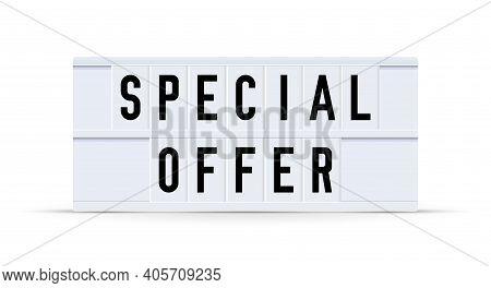 Special Offer. Text Displayed On A Vintage Letter Board Light Box. Vector Illustration.