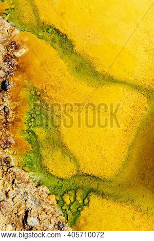 Abstract Textures And Formations On The Banks Of Rio Tinto River, Andalusia Spain.