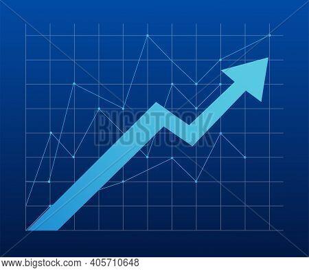 Diagram Rising. Diagram, Graph Growth. Vector Chart. Stock Vector Illustration.