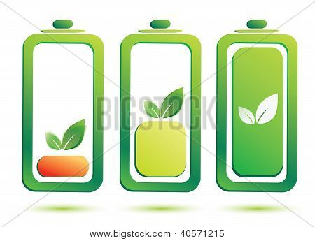Eco Battery Charge Level, Vector Icons