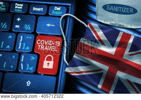 Uk Covid-19 Coronavirus Travel Restrictions Concept Showing Red Button Warning On Keyboard With Uk F