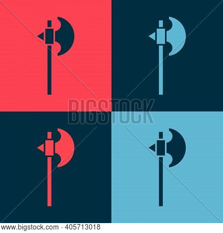 Pop Art Medieval Axe Icon Isolated On Color Background. Battle Axe, Executioner Axe. Medieval Weapon