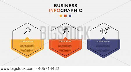 Minimal Business Infographics Template. Timeline With 3 Steps, Options And Marketing Icons