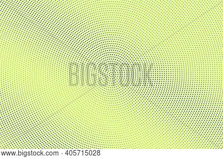 Blue And Yellow Dotted Halftone Vector Background. Subtle Halftone Digital Texture. Faded Dotted Gra