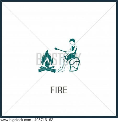 Camping, Sitting By The Fire To Fry Marshmallows Vector Icon, Marshmallows Simple Isolated Icon