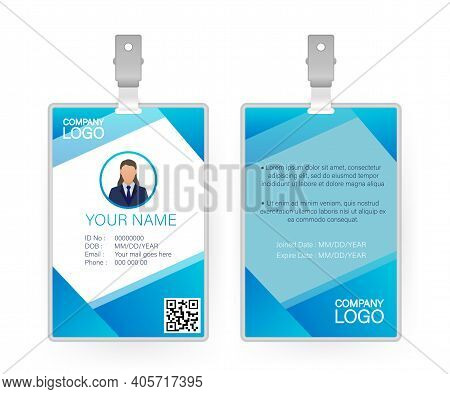 Id Card, Great Design For Any Purposes. Flat Vector. Flat Design. Vector Template Design.