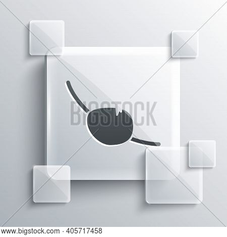 Grey Pirate Eye Patch Icon Isolated On Grey Background. Pirate Accessory. Square Glass Panels. Vecto