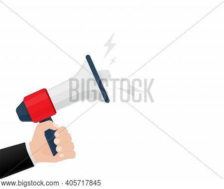 Flat Icon With Red Megaphone With Hand For Concept Design. Vector Illustration Template. Flat Design