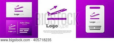 Logotype Plane Takeoff Icon Isolated On White Background. Airplane Transport Symbol. Logo Design Tem