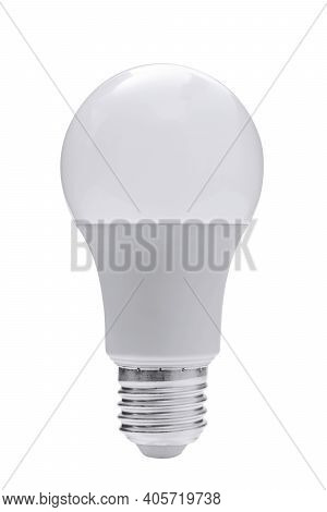Modern Isolated Led Energy Saving White Bulb. Png File With Transparent Background.