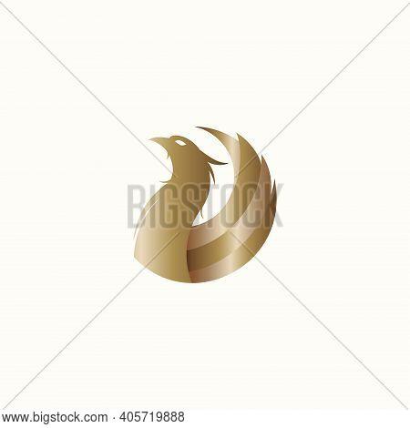 Gold Phoenix Bird Vector Illustration For Icons, Symbols Or Logo. Gold Phoenix Logo Template. Luxury