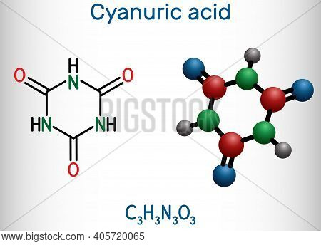 Cyanuric Acid Molecule. It Is Triazine, Enol Tautomer Of Isocyanuric Acid. Structural Chemical Formu