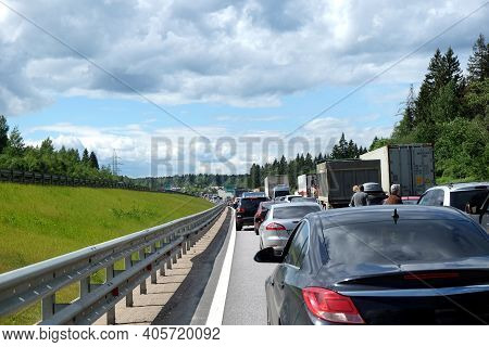 Moscow Suburban, Russia - June The 6th, 2016: Traffic Jam On Countryside Highway. Long Line Of Many