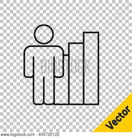 Black Line Productive Human Icon Isolated On Transparent Background. Idea Work, Success, Productivit