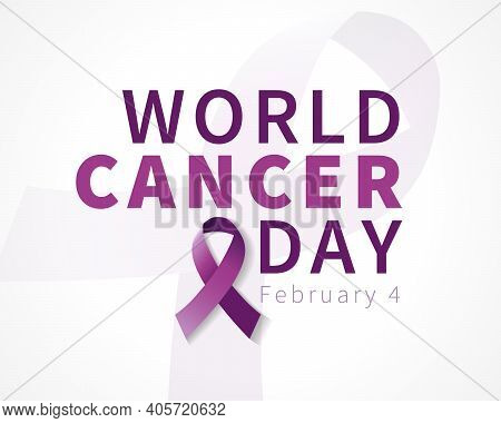 World Cancer Day Lettering Banner. Vector Text Illustration For February 4 Of World Cancer Day With