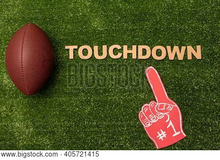 American Football Ball, Foam Finger And