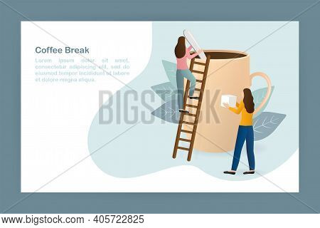 3d Character Black Coffee Break People For Lifestyle Design. Cartoon Character. Coffee Break People,