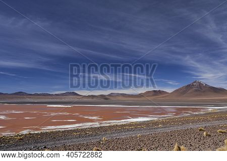 Laguna Colorada, Red Lagoon, A Shallow Salt Lake In The Altiplano Of Bolivia, Within Eduardo Avaroa
