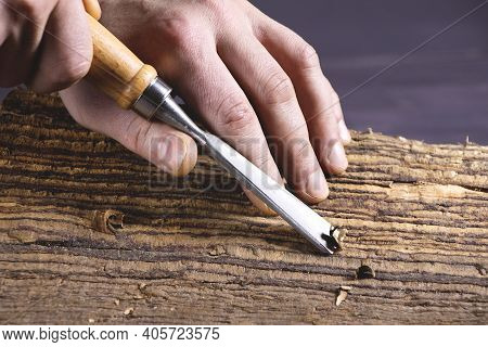 Work Of Carpenter. Handyman With Chisel. Hand Holding Chisel. Woodworking And Craft Carpenter. Carpe
